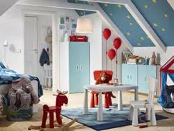 Image Astonishing Blue Red And White Circus Themed Childrens Bedroom With Stuvafritids Wardrobe In Ikea Childrens Bedroom Furniture Ikea