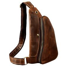 quality men crazy horse leather casual waist pack chest bag sling bag design one shoulder bag cross bag for male 9976