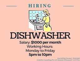 Dishwasher / Kitchen Assistant ($1000 / Tanjong Pagar / Mon-Fri 5Pm ...