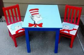 Image Bedroom Dr Seuss Table Chairs Hand Painted Kids Furniture Painted Furniture Hgtvcom Dr Seuss Table Chairs Hand Painted Kids Furniture Hometalk