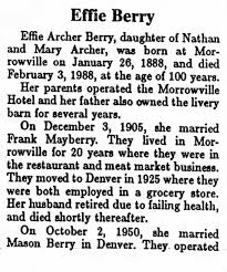 Obituary for Effie Archer Berry, 1888-1988 (Aged 100) - Newspapers.com