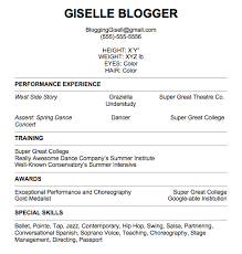 ... Good Looking Dance Resume For College Audition Creative ...