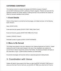 premium catering contract template in pdf wedding catering contract sample