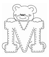 Small Picture Letter M with Cute Teddy Bear Coloring Page Download Print