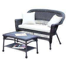 jeco wicker patio love seat and coffee
