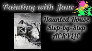 haunted house step by step acrylic painting on canvas for beginners