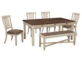 dining room table with upholstered bench. Bolanburg Antique White Rectangular Dining Room Table W/4 Upholstered Side Chairs \u0026 Bench, With Bench