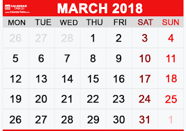 Printable March 2018 Calendar Calendar Table