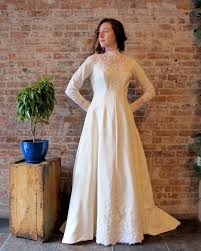 high neck wedding dress long sleeve train lace beads