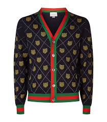 gucci zip up sweater. men: knitwear gucci wool tiger cardigan zip up sweater