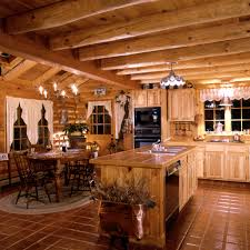 Log Cabin Kitchen Decor Log Home Kitchen Warmth Of Tiles For Island Counter And Floors