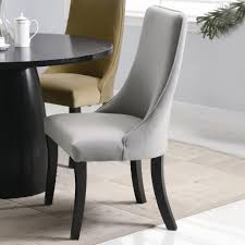 upolstered dining chairs. Grey Wingback Style Upholstered Dining Chairs With Curved Upolstered N