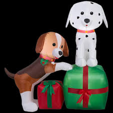 home accents holiday 5 ft lighted inflatable puppies gift scene
