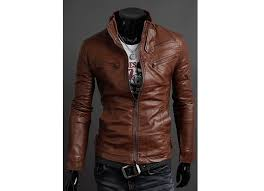 korean style stand collar multi zipper embellished pu leather men s jacket light brown m