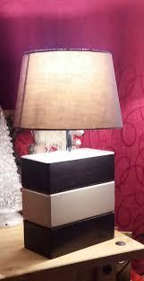 plum slate and portland limestone lamp
