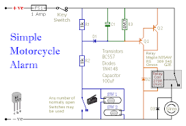how to build a simple motorcycle alarm circuit diagram of a transistor based motorcycle alarm