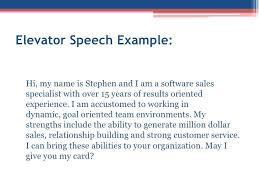 Elevator Speech Template 9 Examples Students Resume With Regard