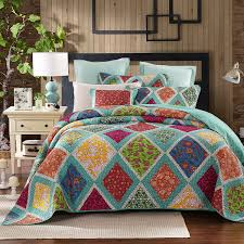 DaDa Bedding Bedspreads – Ease Bedding with Style & Forest Glade Floral Quilt Bedspread Set, Turquoise & Purple, Queen, 3-Pieces Adamdwight.com