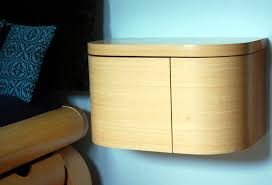 I finished this wall mounted bedside table for Weijin, in Bamboo. Clean,  simple lines, and it opens towards the bed - makes a great concealed spot  for a ...