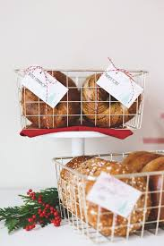 holiday bagel breakfast bar with bagels displa in gold wire baskets