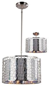 drum shade pendant lighting. three light chrome maylar metal shade drum pendant contemporary pendantlighting lighting