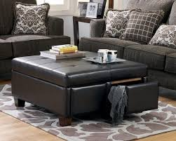 ottoman coffee table. Leather Coffee Table With Storage Black Ottoman In Prepare 1