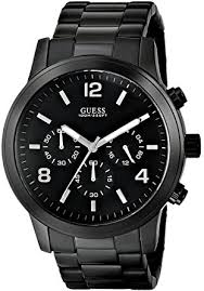 amazon com guess men s u15061g1 sporty black stainless steel guess men s u15061g1 sporty black stainless steel watch chronograph dial and deployment buckle