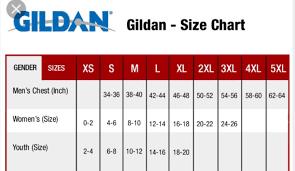 Gildan 5000 Size Chart