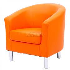 foxhunter modern tub chair armchair pu faux leather chrome leg armchair orange