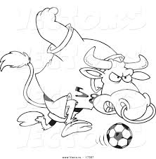 Small Picture Vector of a Cartoon Soccer Bull Coloring Page Outline by
