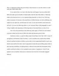 importance of following military orders essay similar essays