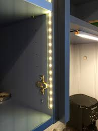upper cabinet lighting. Close Up Of LED Lighting Installed Inside The Upper Cabinets. By Installing Them Just Cabinet R