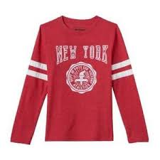 Details About Nwt Boys Urban Pipeline Red White New York Football Tee Long Sleeve Shirt M L