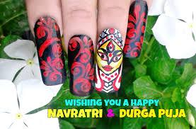 Durga Maa Nail Art/ Indian traditional nail design - YouTube