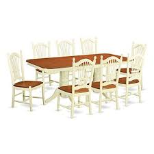 east west furniture nado9 whi w 9 piece small kitchen table and 8 dining room chairs set