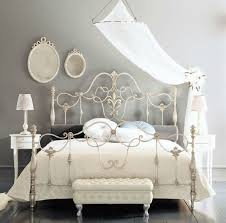 Fancy Wrought Iron Beds With Silver Color Home Ideas In White Metal ...