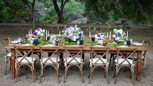 rustic outdoor table and chairs. Outdoor Wedding Reception With Wood Table, Chairs, Moss Runner, Pink, Purple, Rustic Table And Chairs D