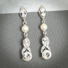 wileen pearl chandelier bridal earrings swarovski crystal ribbon bow wedding earrings silver bridal jewelry vintage inspired dangles