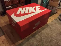 nike swoosh wood shoe storage box by originalislandarts on
