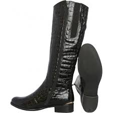 library womens knee high boot in black patent