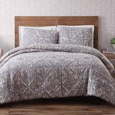 brooklyn loom sand washed frost gray 3 piece gray full and queen comforter with 2 shams cs1778fgfq 1500 the home depot