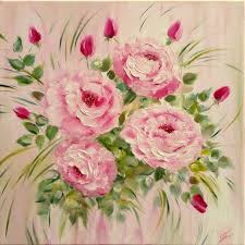 original oil painting roses flowers summer romantic