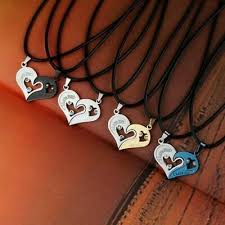 1pair couple stainless steel love heart