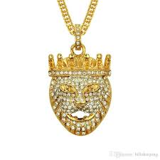 new arrivals hip hop gold plated lion head pendant men necklace king crown iced out fashion jewelry