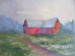 barn painting daily painting small oil painting rustic painting scenic landscape 9x12x 75