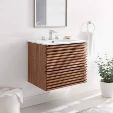 Modway Render 24 Wall Mount Bathroom Vanity In Walnut White Amazon Com