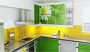 yellow backsplash and green kitchen cabinets