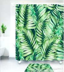 green leaves pattern waterproof shower curtain with hooks polyester bathroom textile home bath decorative leaf