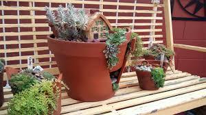 diy broken flower pot fairy garden