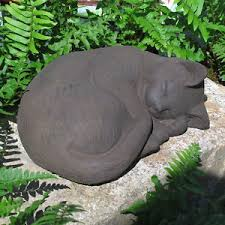 cat garden statue. image is loading cast-stone-cement-small-curled-cat-outdoor-garden- cat garden statue